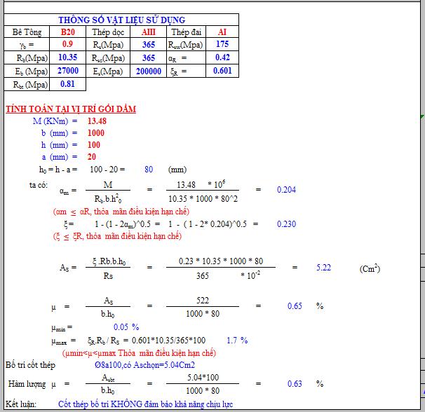 Share file tính toán cấu kiện cột, dầm, sàn